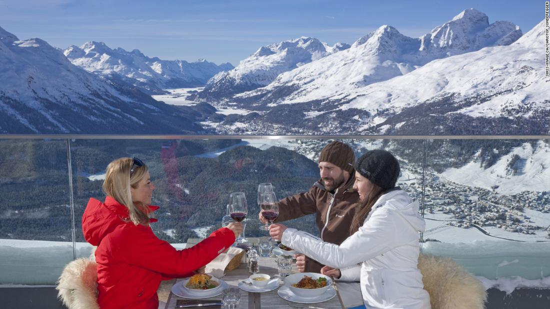 <strong>Fine dining:</strong>  Gourmets flock to St. Moritz for its myriad fine-dining options. The lofty Hotel Muottas Muragl on a nearby mountainside offers lunch with a view up the Engadin Valley.