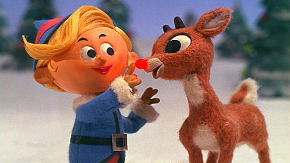 """Rudolph's nose beams in the 1964 classic """"Rudolph the Red-Nosed Reindeer."""""""