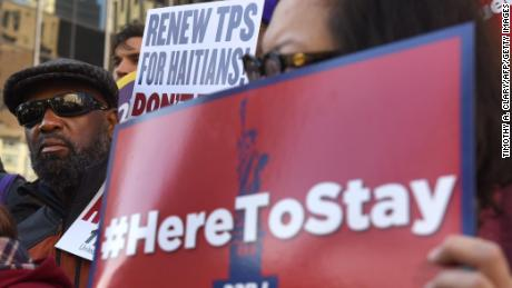 Immigrant advocates protested the TPS decision in New York, home to a large number of Haitians.