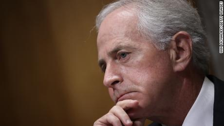 "WASHINGTON, DC - NOVEMBER 14:  Sen. Bob Corker (R-TN), Chairman of the Senate Foreign Relations Committee listens to testimony during a committee hearing November 14, 2017 in Washington, DC. The committee heard testimony on the ""Authority to Order the Use of Nuclear Weapons.""  (\Win McNamee/Getty Images)"