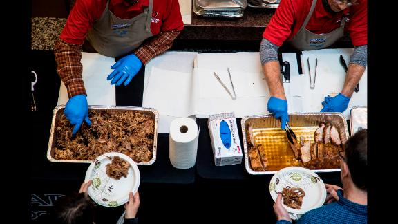 """The typical response from residents is gratitude. """"You have no idea what a hot meal means to somebody who has lost everything that they own,"""" said a woman during the Hurricane Harvey crisis."""