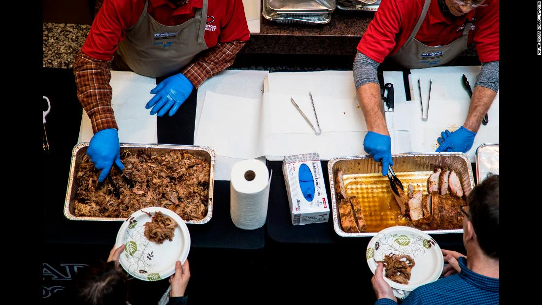 "The typical response from residents is gratitude. ""You have no idea what a hot meal means to somebody who has lost everything that they own,"" said a woman during the Hurricane Harvey crisis."