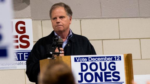 Democratic candidate for U.S. Senate Doug Jones speaks at a fish fry campaign event at Ensley Park, November 18, 2017 in Birmingham, Alabama. Jones has moved ahead in the polls of his Republican opponent Roy Moore, whose campaign has been rocked by multiple allegations of sexual misconduct. (Photo by Drew Angerer/Getty Images)