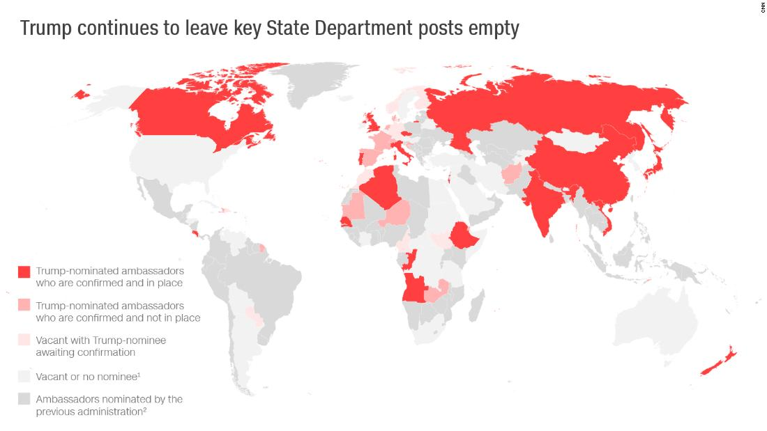 Map: Trump continues to leave key State Department posts empty ...