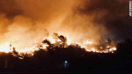 A wildfire burns near the Getty Center in Los Angeles.