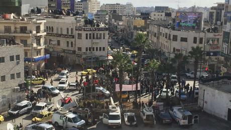 Al-Manara square in Ramallah on Thursday morning