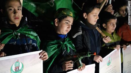 "At a demonstration organized by Hamas in Gaza on Wednesday evening, Palestinian children held signs reading: ""Jerusalem is the Palestinian capital."""