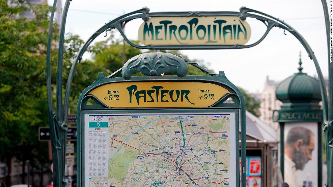 Hector Guimard's entrance to the Pasteur metro station in Paris, built in the early 20th century.