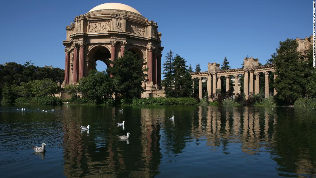 The Palace of Fine Arts, a stone's throw from Lucasfilm's San Francisco HQ, is built in the neoclassic style with Corinthian columns, domes and water -- not unlike parts of Theed.