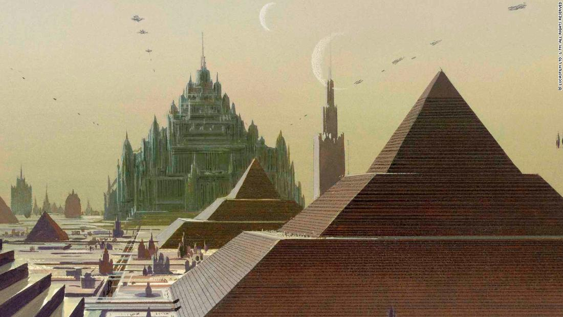 "One of Ralph McQuarrie's original paintings of what would become Coruscant. Called Had Abbadon, in the background is the Imperial Palace, home to the Emperor.  This vision of Coruscant would never come to pass by the time of the prequels. ""Star Wars"" lore says the Emperor re-purposed the Jedi Temple when he assumed power at the end of ""Revenge of the Sith."""