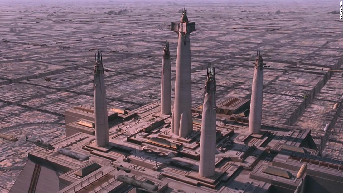 "The Jedi Temple, seen in ""The Phantom Menace."" There's cross-pollination of religious architecture throughout: what Reat describes as a ""Brutal interpretation of Aztec architecture,"" and minaret-like towers which ""have an entasis, or a bulging,"" he says, ""which reminds you of Southeast Asian towers."""