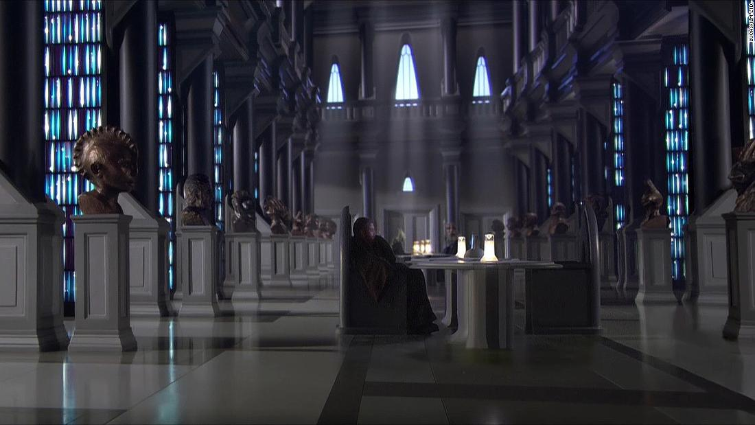 "The Jedi Temple archives from ""Attack of the Clones."" Parts of the internal spaces of the temple were supposedly modeled on the Vatican, but the archives have one clear inspiration: The Long Room at Trinity College Dublin."