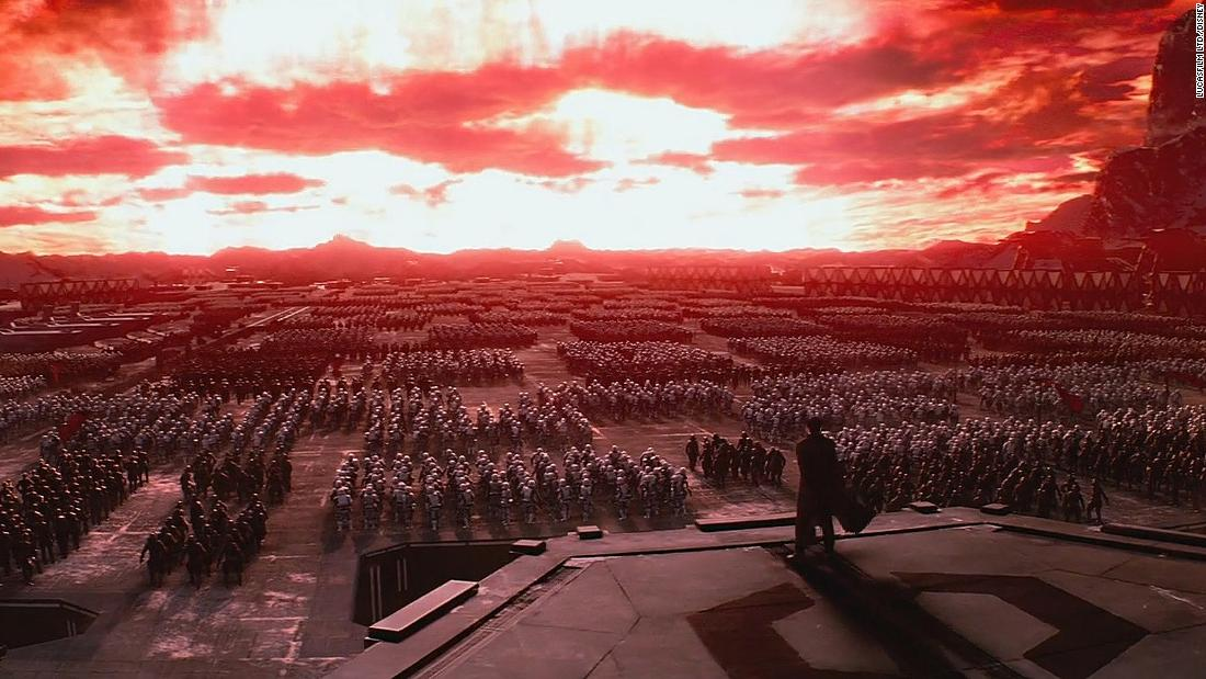 "A still from ""Star Wars: The Force Awakens"" depicts a show of force from First Order troops on Starkiller Base. The visual language echoes the Nuremberg Rallies of the 1930s, when Nazi party members gathered annually in northern Bavaria. In the background, the base's weapon is fired, perhaps an allusion to the ""Cathedral of Light."""