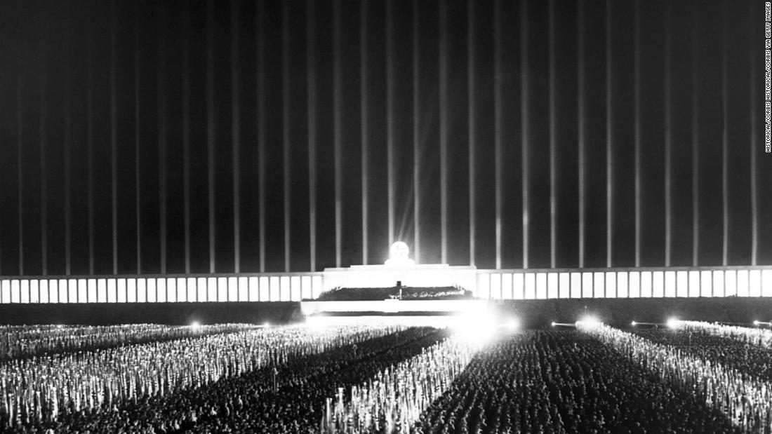 "The ""Cathedral of Light"" was the name given to the practice of turning anti-aircraft searchlights to the sky en masse at the Zeppelin Field at Nuremberg. The visual spectacle was described as ""<a href=""https://books.google.co.uk/books?id=ORGhCgAAQBAJ&printsec=frontcover&dq=Martin+Kitchen,+Speer:+Hitler%27s+Architect&hl=en&sa=X&ved=0ahUKEwjf-orgt_jXAhWGalAKHT4bBagQ6AEIKTAA#v=onepage&q=Nevile%20Henderson&f=false"" target=""_blank"">both solemn and beautiful</a>"" by British ambassador Nevile Henderson. Pictured is one such instance in September 1937."