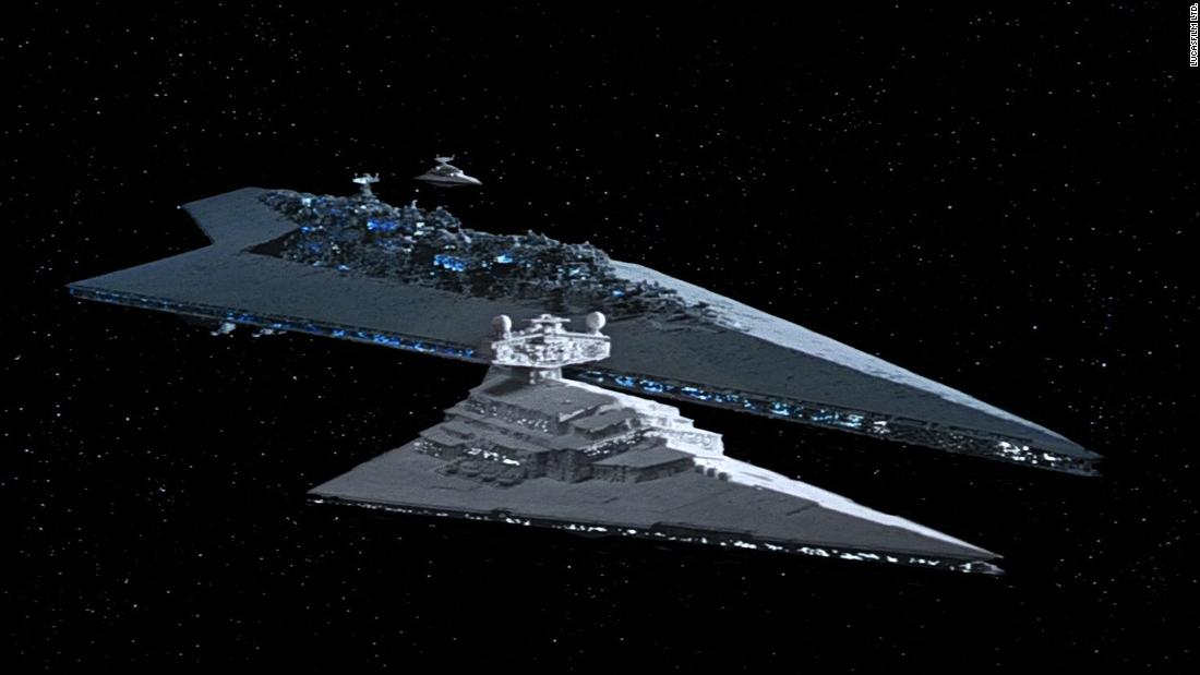 "Two Star Destroyers and the ""Executor,"" Darth Vader's Super Star Destroyer, seen in ""The Empire Strikes Back."" The Imperial spaceships are, like the Death Star, Brutalist on close inspection, a mass of hard lines and boxy shapes. Originally conceived as a 36-inch model, the Star Destroyer silhouette would eventually show up in the real world."