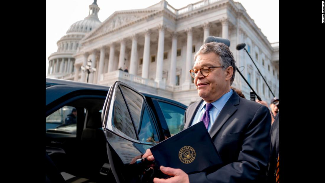 "US Sen. Al Franken leaves the Capitol after speaking on the Senate floor on Thursday, December 7. The Democrat <a href=""http://www.cnn.com/2017/12/07/politics/al-franken-resignation-decision/index.html"" target=""_blank"">said he is resigning</a> following allegations that he touched women inappropriately. He also said some of the allegations against him aren't true."