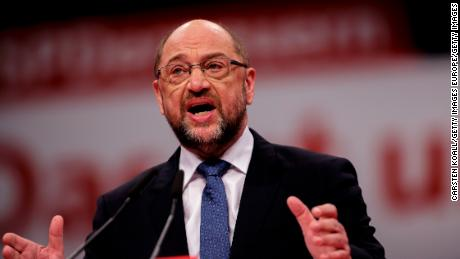 Martin Schulz, leader of Germany's Social Democrats, speaking to party delegates in Berlin on Thursday