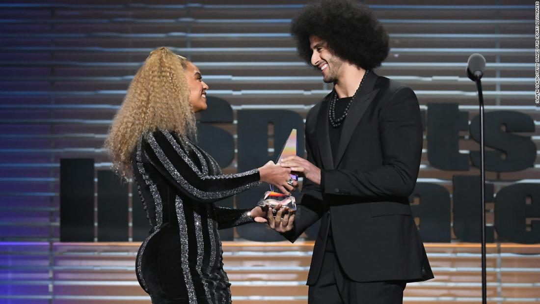 "Singer Beyonce <a href=""http://www.cnn.com/2017/12/06/entertainment/beyonce-colin-kaepernick-award/index.html"" target=""_blank"">presents the Muhammad Ali Legacy Award</a> to former NFL quarterback Colin Kaepernick during Sports Illustrated's Sportsperson of the Year Awards on Tuesday, December 5. Kaepernick became a lightning rod last year when he began kneeling during the National Anthem to protest police brutality and racial inequality."