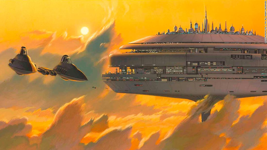 "Ralph McQuarrie's concept art of Cloud City, as seen in ""The Empire Strikes Back."" The floating metropolis was inspired by ""Flash Gordon"" and 1930s sci-fi/western serial ""The Phantom Empire,"" says Reat."