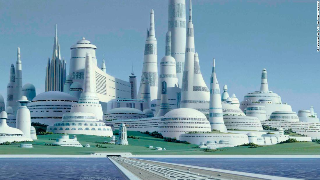 """George was actually one of the ultimate recyclers of concept art,"" says Szostak. This McQuarrie painting shows an early version of Alderaan, which was at one time imagined as an Imperial City. Another unused McQuarrie Imperial City<a href=""http://starwarsblog.starwars.com/wp-content/uploads/sites/6/2014/01/13-ImperialCity.png"" target=""_blank""> looked a lot like Cloud City</a>, and later on the two would be combined."