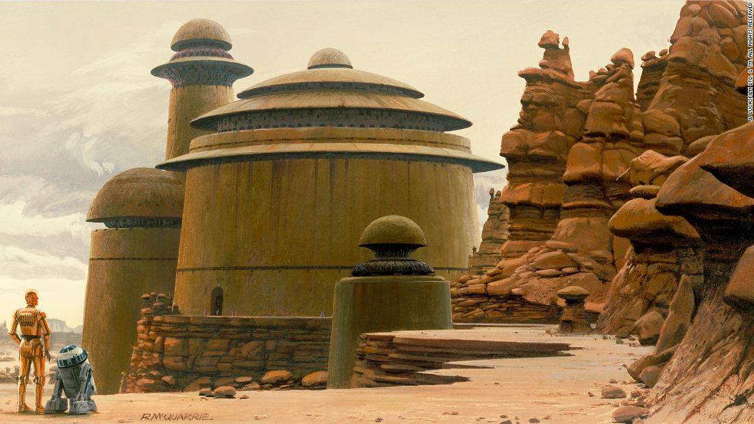 "Jabba the Hutt's palace on Tatooine, as painted by Ralph McQuarrie. A combination of Byzantine shapes and clean Brutalist surfaces, it's an example of the ""Star Wars"" universe's magpie approach to architecture."