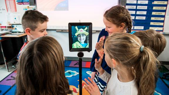 CNN caught up with Morissette during a visit with students in Wells, Maine, on November 14, 2017. When ill children have to miss class, they use robots donated by Grahamtastic Connection to attend class remotely.