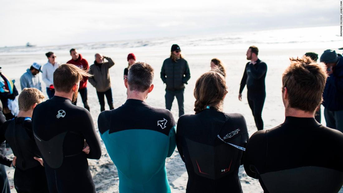 The group has found that having therapy on the beach makes it more approachable for veterans. They aren't required to participate if they're not ready, but they are encouraged to work with the organization's therapist.