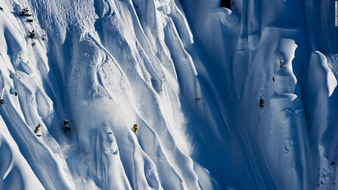 "<strong>Spine tingling:</strong> ""Cody Townsend is one of the best big-mountain skiers in the world. This was at Terrace in northern British Columbia, a really remote spot near the Alaskan border, one of the most amazing places I've been to with those spine walls and no one around. It was during a film shoot with Matchstick Productions. This was the most productive day -- in two weeks we only skied four days because it was so stormy.  The skiers would look at the lines from the helicopter as they flew up and then take a picture of it and memorize it before their run."" -- <em>Mattias Fredriksson.</em>"