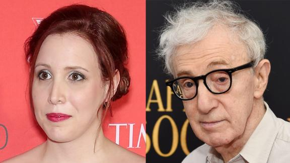 Dylan Farrow, left, and Woody Allen, right.