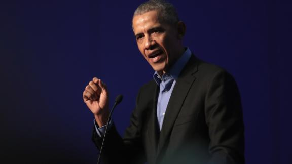 CHICAGO, IL - DECEMBER 05:  Former president Barack Obama speaks to a gathering of more than 50 mayors and other guests during the North American Climate Summit on December 5, 2017 in Chicago, Illinois. The summit was held to bring together leaders from the U.S., Canada and Mexico to commit their cities to addressing climate change at the local level.  (Photo by Scott Olson/Getty Images)