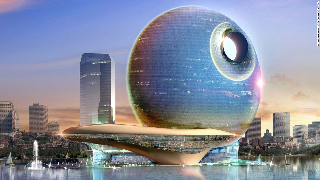 "The Full Moon Hotel by <a href=""http://www.heerim.com/project/view?id=538&lang=en"" target=""_blank"">Heerim Architects</a> drew instant comparisons with the Death Star when renders hit the internet in 2007. The hotel, planned for Baku, Azerbaijan, wouldn't have been out of step with the city -- it's home to a bevvy or intriguing architecture -- but to date the building sadly remains unrealized."