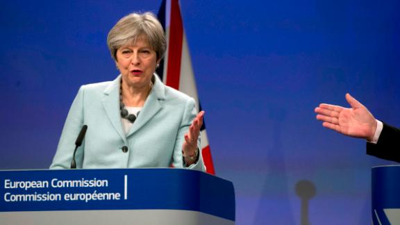 British Prime Minister Theresa May addresses the media.