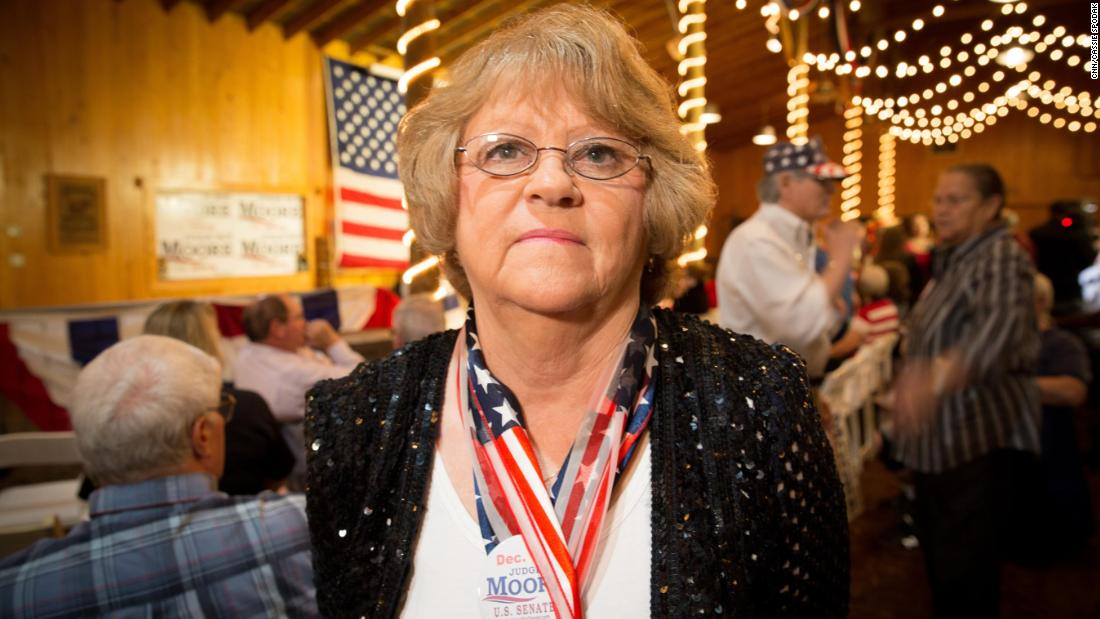 "Kay Day, a volunteer for the Roy Moore campaign, said she felt the last few weeks had invigorated Moore's supporters, who don't believe the accusations against him - ""People are just energized the last two weeks because we found out that our people are strong, stable and they're unmovable."""