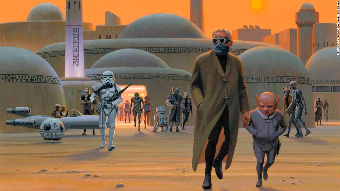 "One of Ralph McQuarrie's early paintings of Mos Eisley, Tatooine. The city, ""a hive of scum and villainy,"" was imagined to be constructed of mud, rammed earth and plaster in the North African vernacular."