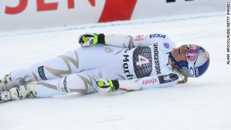 Lindsey Vonn hurt her back in a super-G race in St. Moritz.
