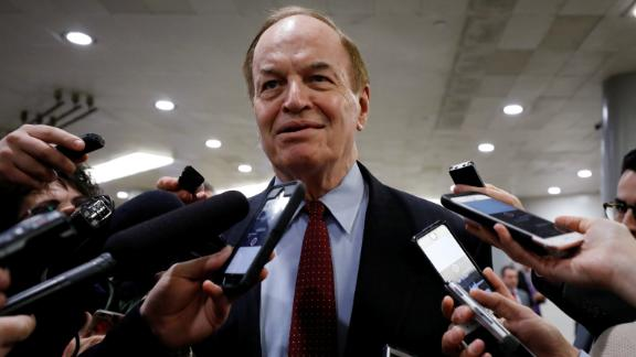 Sen. Richard Shelby of Alabama speaks with reporters on Capitol Hill in Washington, in December 2017.