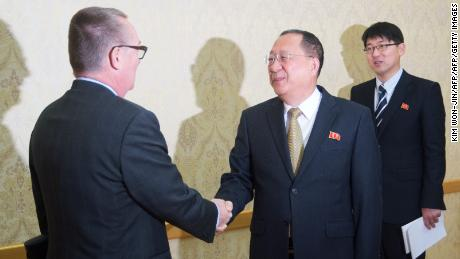 Jeffrey Feltman, left, shakes hands with North Korean senior ruling party leader Ri Su-Yong in Pyongyang on December 7, 2017. Feltman's visit was the first by a UN diplomat of his rank since 2010.