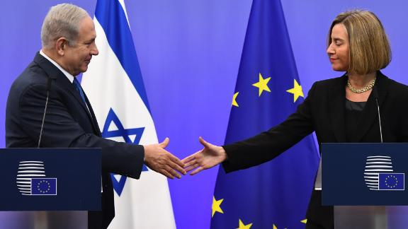 Netanyahu speaks alongside EU foreign policy chief Federica Mogherini in Brussels on Monday.