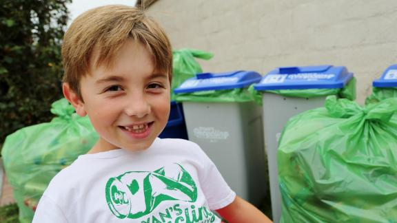 "Ryan Hickman is passionate about recycling. After he learned about the process, he began by collecting his neighbors' recyclables. Soon family members and friends were saving their bottles and cans for him, too. The 8-year-old's efforts have since become a thriving, community-wide business that has recycled more than 275,000 cans and bottles -- a total of 60,000 pounds, and counting. Every week, he sorts through recyclables from his ""customers"" all over Orange County. He and his parents take them by the truckload to the local redemption center."