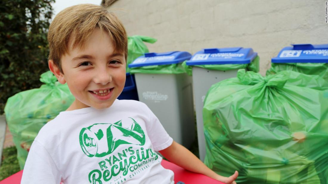 "Ryan Hickman is <a href=""http://www.cnn.com/2017/03/09/us/recycling-boy-trnd/index.html"">passionate about recycling</a>. After he learned about the process, he began by collecting his neighbors' recyclables. Soon family members and friends were saving their bottles and cans for him, too. The 8-year-old's efforts have since become a thriving, community-wide business that has recycled more than 275,000 cans and bottles -- a total of 60,000 pounds, and counting. Every week, he sorts through recyclables from his ""customers"" all over Orange County. He and his parents take them by the truckload to the local redemption center."