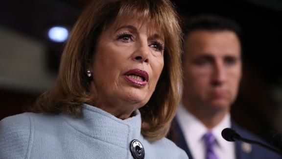 WASHINGTON, DC - NOVEMBER 15:  Rep. Jackie Speier (R) (D-CA) speaks at a press conference on sexual harassment in Congress on November 15, 2017 in Washington, DC. Sen. Kirsten Gillibrand and Speier announced the introduction of bipartisan legislation to prevent and respond to sexual harassment in Congress.  (Win McNamee/Getty Images)