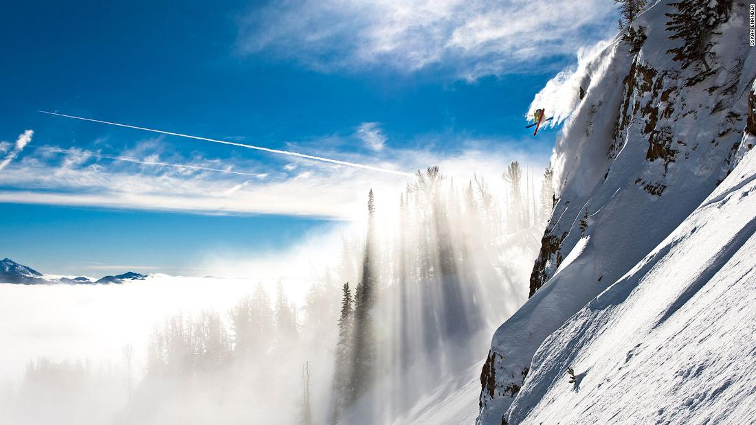 "<strong>Ethereal light: </strong>""This is the late Jamie Pierre in Jackson Hole. Jamie held the unofficial world record for the highest cliff jump, but died in a snowboarding accident in 2011. This was probably the smallest cliff he jumped on this day. The fog coming through the trees was in and out and wasn't there when we set up for the shot. The second he dropped in it appeared and gave the shot a  magical, mystical feeling. A minute or two later it had disappeared. Nature was on our side that day."" -- <em>Oskar Enander.</em><br />"