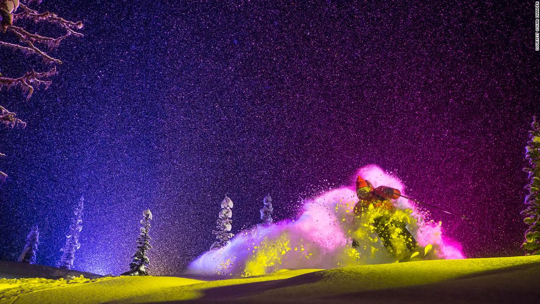 "<strong>Pink puff: </strong>""For tighter shots we could shoot from close to the ground and hide the old tracks so we didn't have to move location every time. The skier came straight towards us and the rear light hit the powder cloud from behind to give one color and the side light gave another color. Sometimes the skiers wore light suits containing hundreds of LEDs, which often broke, and the batteries burned holes in their pockets."" -- <em>Oskar Enander</em>. (<em>Skier Eric Hjorleifson)</em><br /><br />"