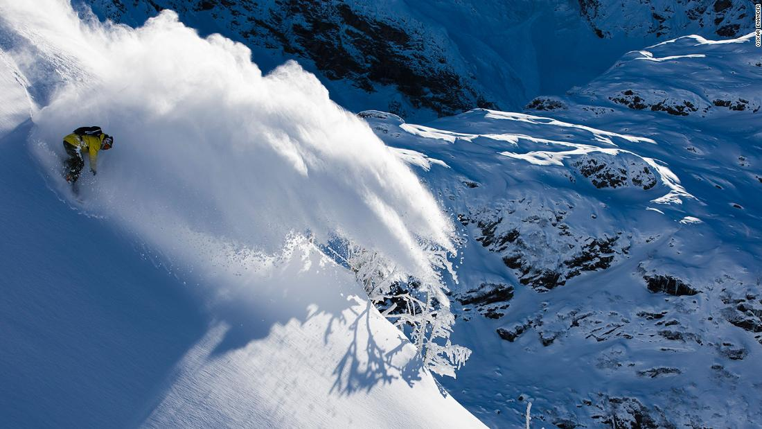 "<strong>In the barrel: </strong>""This looks like midwinter but it was November 2017 in Engelberg. It's a cool spot because the rider (Yves Husler) can come in from way above with so much speed and the cloud throws forward like a wave. I want to try it again and have him in the cloud like he's under the lip in a big-wave tube. We're working on it, but the snow needs to be right and you can't shoot there in February, March and April because it gets too warm."" -- <em>Oskar Enander.</em><br />"