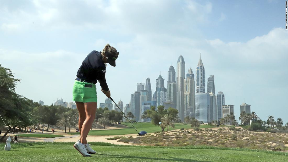Pernilla Lindberg plays a tee shot during the final round of the Dubai Ladies Classic on Saturday, December 9.
