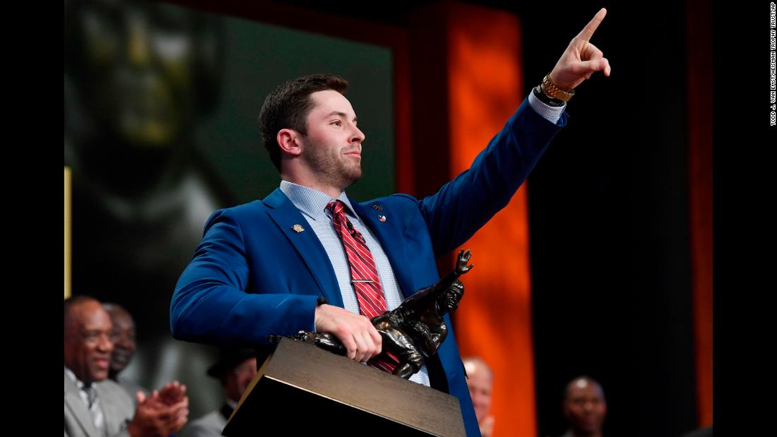 "Oklahoma quarterback Baker Mayfield holds the Heisman Trophy after <a href=""http://bleacherreport.com/articles/2747686"" target=""_blank"">winning the award</a> in New York on Saturday, December 9. The senior threw 41 touchdowns this year and ran for five as the Sooners won the Big 12 title and qualified for the College Football Playoff."
