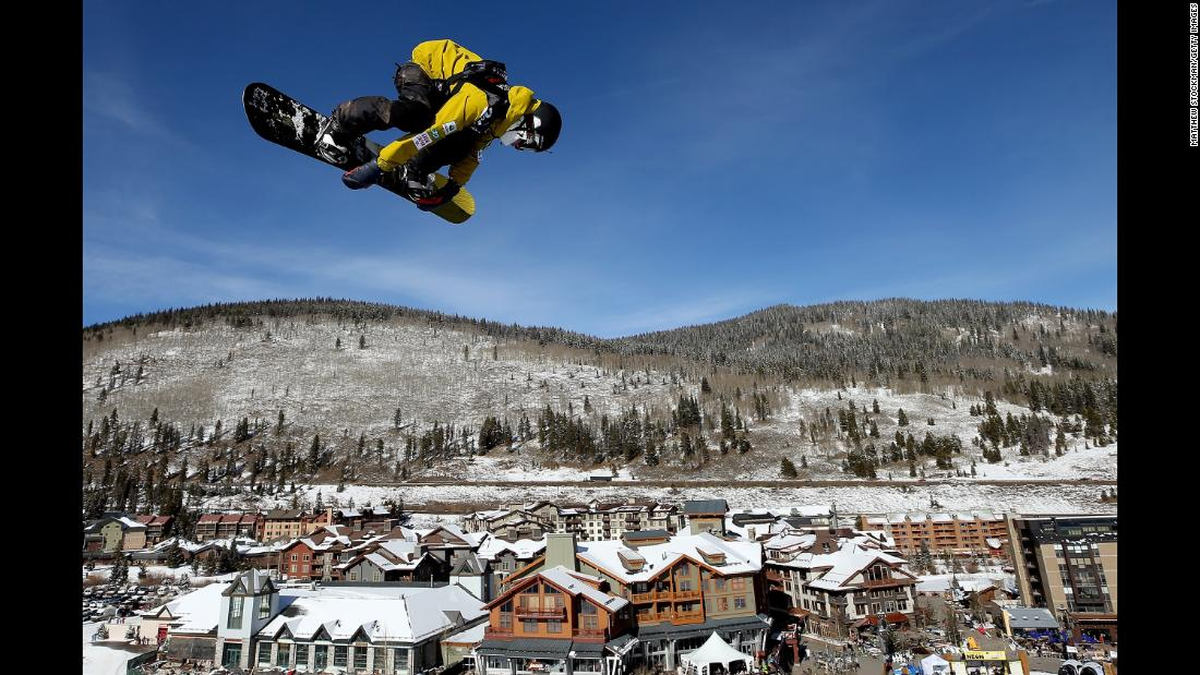 Japanese snowboarder Hiroaki Kunitake trains before a Big Air competition in Copper Mountain, Colorado, on Friday, December 8.