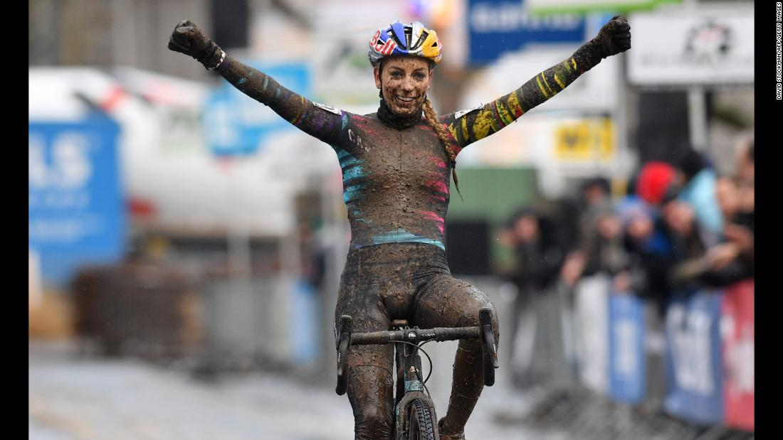 French cyclist Pauline Ferrand Prevot celebrates after winning a cyclo-cross race in Overijse, Belgium, on Sunday, December 10.