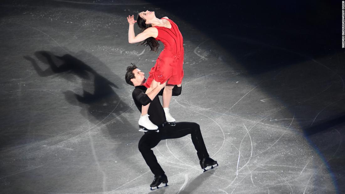 Canadian figure skaters Tessa Virtue and Scott Moir perform during the gala exhibition of the Grand Prix event in Nagoya, Japan, on Sunday, December 10.