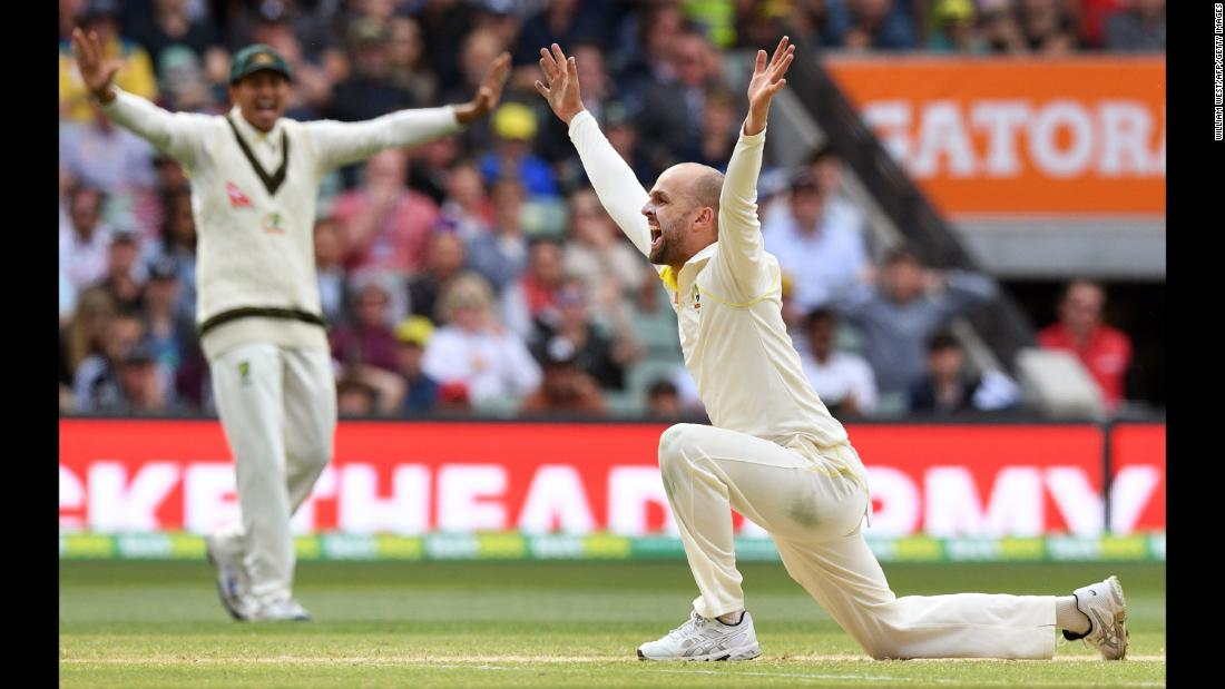Australian spinner Nathan Lyon appeals successfully for an LBW decision against England's Alastair Cook on Tuesday, December 5. Australia won the second Test match of the Ashes series by 120 runs, and it has a 2-0 lead in the best-of-five series.